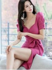 V Neck Tie-Wrap Slit Short Sleeve Dress