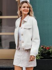Short Faux Pearl Decor Front Zipper A Line Skirt