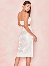 Spaghetti Strap Split Hem White Crop Top And Skirt Set