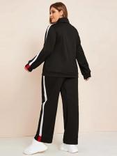 Contrast Color Heap Collar Plus Size Activewear