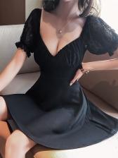 Deep V Neck Puff Sleeve A-Line Sexy Dress