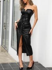 Skinny Slit Midi Black Strapless Dress