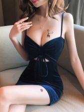 Low-Cut Drawstring Sleeveless Mini Sexy Dress