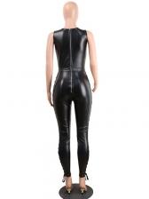 Sexy Lace Up Sleeveless Black Jumpsuit