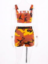 Camouflage Buckle Belt Crop Top And Shorts Set