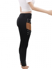 Beading Holes Skinny Black Pants