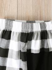 Contrast Color Plaid Long Pants For Boys