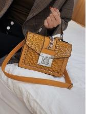 Stone Grain Chain Decorated Square Shoulder Bags