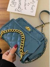 Spin Lock Threads Rhombus Chain Shoulder Bag