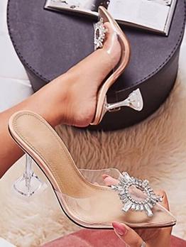 Flower Metal Splicing Transparent Clear Heel Slipper Shoes