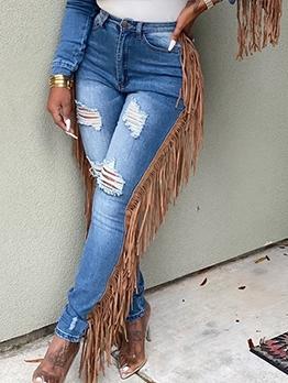 Side Tassel Skinny Ripper Jeans For Women