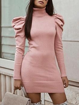 Slim Fit Knit Solid Women Sweater Dress