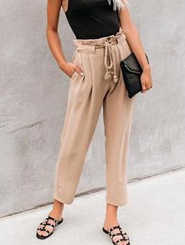 Easy Matching Khaki Fashion Paperbag Pants