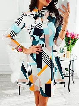 Bowknot Tie Neck Print Long Sleeve Dress