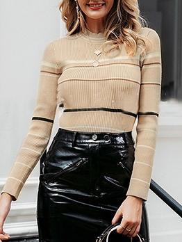 Skinny Round Neck Striped Sweater