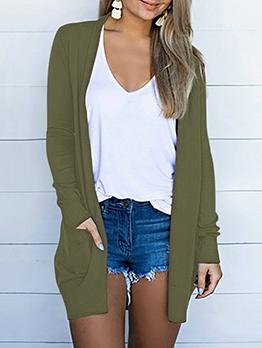 Pure Color Two Pockets Plus Size Ladies Coat