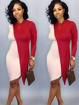 Euro Irregular Color Block Long Sleeve Dress