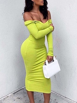 Solid Deep v Long Sleeve Maxi Dress