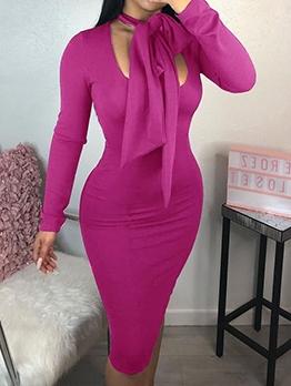 Tie Neck Purple Long Sleeve Bodycon Dress