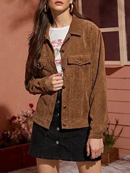 Corduroy Single Breasted Khaki Winter Jackets