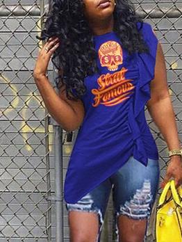 O Neck Sleeveless Letter Ruffled T Shirt Design