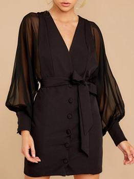 Ol Style Black Lace Up Long Sleeve Dress
