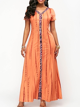 Casual V Neck Short Sleeve Plus Size Boho Maxi Dress
