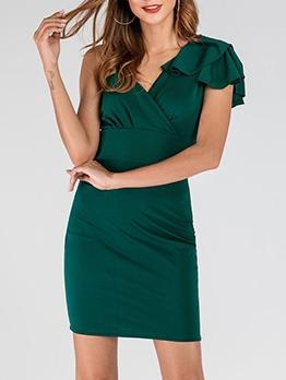 Slim Fit v Neck Ruffled Green Dress