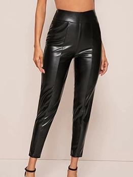 Glossy Pu High Waist Skinny Black Pants