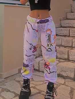 Multicolored Printed Elastic Waist Long Pants