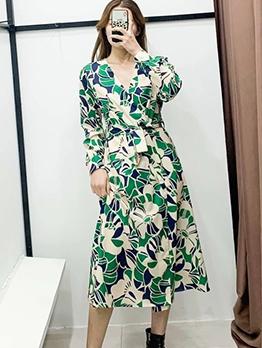 Versatile v Neck Long Sleeve Maxi Dress