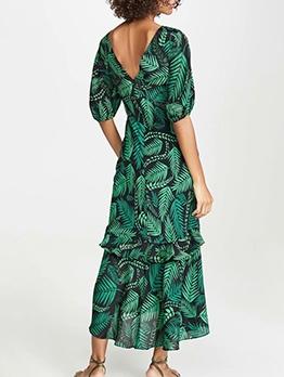 Botanic Print High-Low Ladies Maxi Dresses