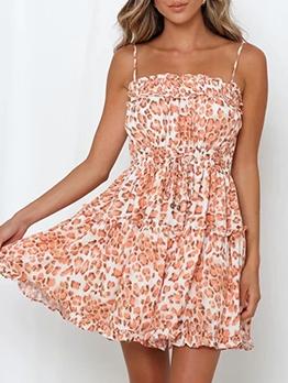 Leopard StringySelvedge Slip Sleeveless Dress
