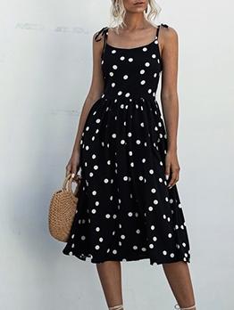 Backless Smart Waist Polka Dots Sleeveless Sundress