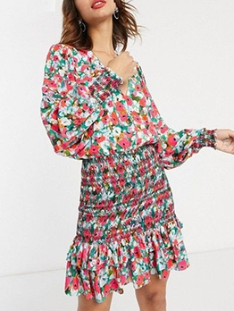 V Neck Button Down Long Sleeve Floral Dress