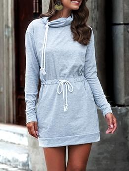 Heap Collar Smart Waist Pockets Long Sleeve Short Dress