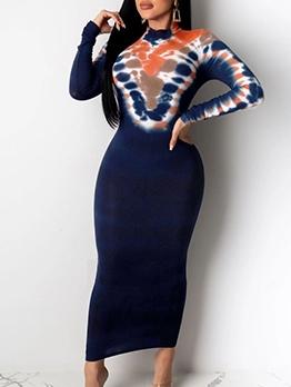 Mixed Color Mock Neck Slim Maxi Dresses