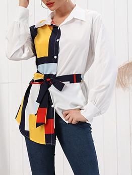 Color Block Tie-Wrap Long Sleeve Blouse