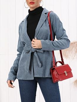Corduroy Lapel Collar Tie-Wrap Ladies Coats