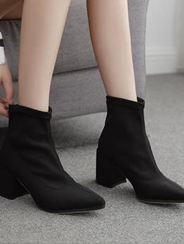 Slip On Chunky Black Boots