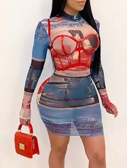Euro Funny Printed Long Sleeve Bodycon Dress