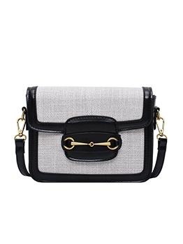 Versatile Linen Patchwork Pu Square Shoulder Bags