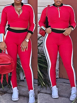 Contrast Color Stand Collar Skinny Womens Tracksuits