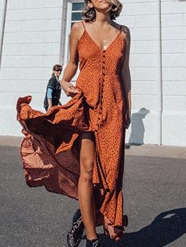 Slip Single-Breasted Dots Casual Maxi Dresses