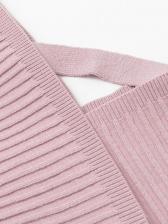 Pure Color v Neck 2 Piece Skirt Set