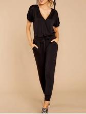 Casual Short Sleeve Slim Waist V Neck Jumpsuit