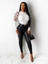 Polka Dot Puff Sleeve Knit Blouse For Women