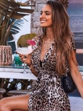 V Neck Asymmetric Trim Beach Maxi Dress