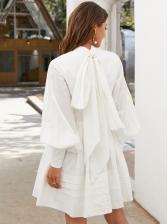 Boutique Ruffle Patchwork Women White Long Sleeve Dress