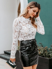 Stand Collar White Hollow Lace Blouse
